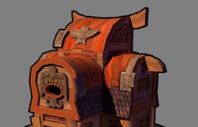 卡通西式小房子maya低模,mb,obj�煞N格式,�N�D全