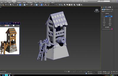 卡通炮楼,游戏低模max模型