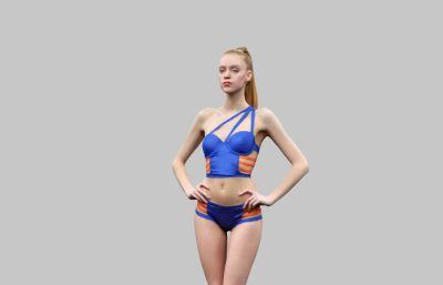 性?#27427;?#27225;色泳装女生模特OBJ模型