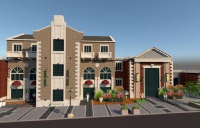 别墅区,私家花园小区su模型