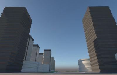 科技工业园办公楼区su模型