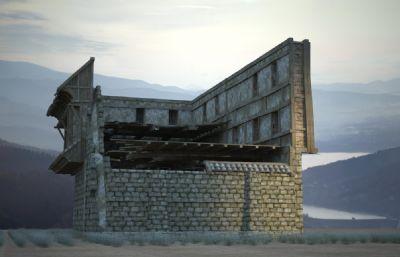 古代建筑破爛廢棄的房子破樓3D模型(網盤下載)