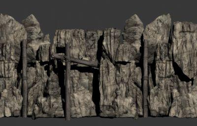 �已�,山石,枯木,�K索,假山max模型