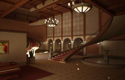 复古豪华酒店大堂豪宅建筑少面数3D模型(网盘下载)