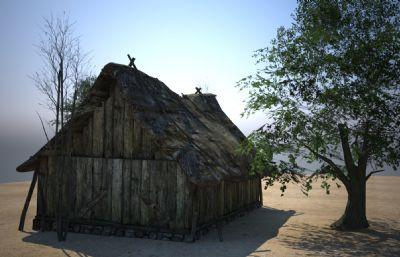 破��的房屋茅草屋建筑3D模型