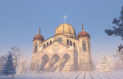 古建筑教堂建筑3D模型(�W�P下�d)