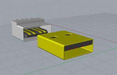 USB接口公头+母头-犀牛建模