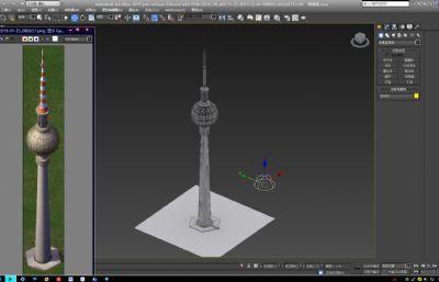 国外电视塔标志性建筑max模型