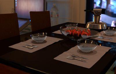 �F代餐桌�o物渲染C4D模型