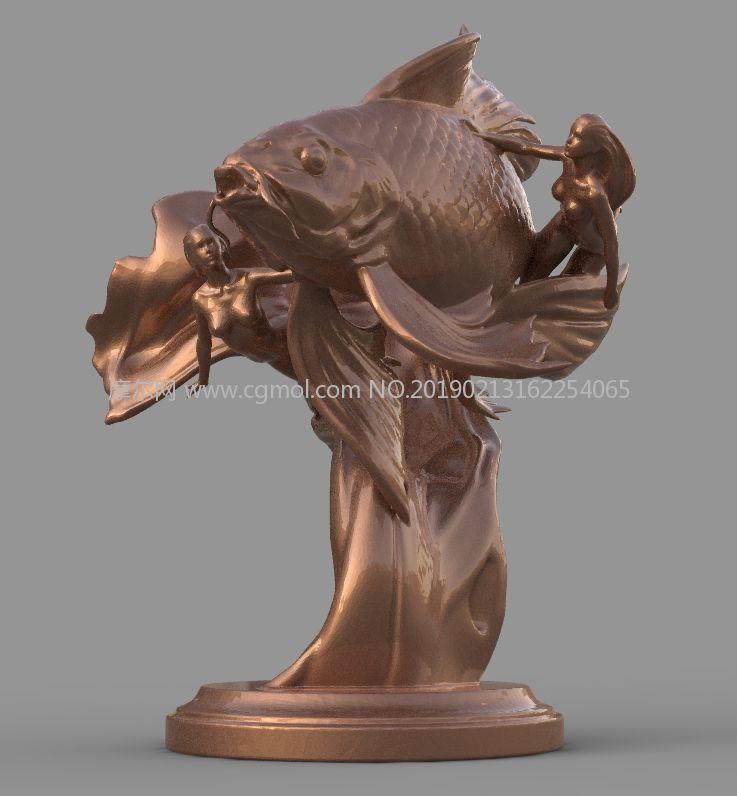美女�c��~同舞雕塑OBJ模型