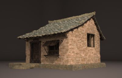 古典建筑破�f的瓦房3D模型