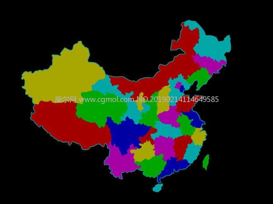 maya模型 中国政区地图 每省一块 有边线 立体模型
