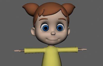卡通大眼秋�b女孩Maya模型,�Р馁 