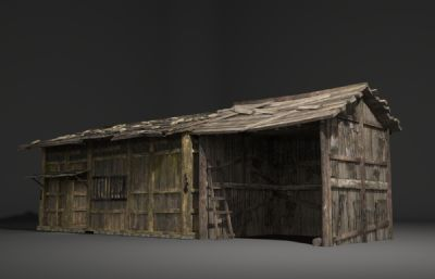 古建筑�U��的破��木房子3D模型