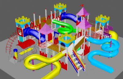 儿童游乐场,滑滑梯娱乐设施,mb,max模型
