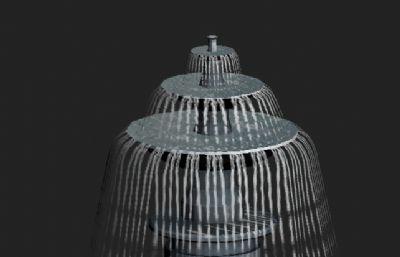 喷泉max低面模型