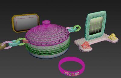 首饰盒,宝石,戒指等首饰OBJ模型