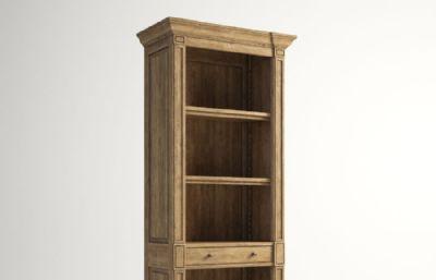 阿伯丁书架,木制书架书柜,单柜max模型