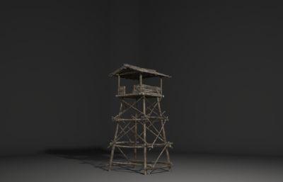 古建筑木架子,��^�t望塔,哨塔3D模型