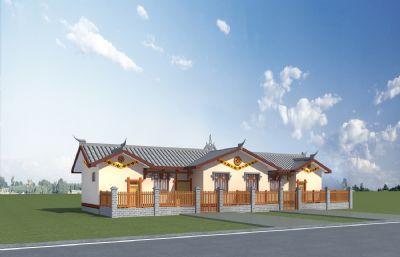 彝族民居�e院住宅Max模型