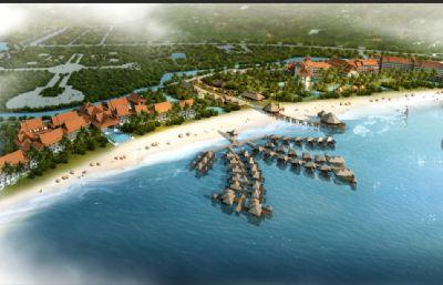 柬埔寨海边旅游景点城市max模型