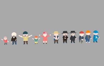Lowpoly�L格卡通角色人物max模型,有老人,小孩,女人,快�f�T,工人等