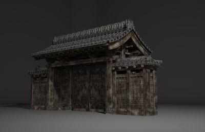 古建筑大门,民居房屋门头3D模型