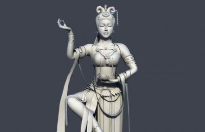 单腿站立莲花台舞女,观音maya模型