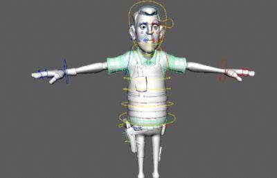 卡通中年警官警察maya模型,带绑定