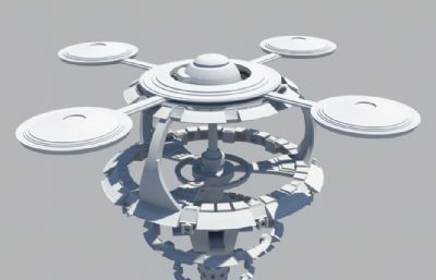 锥形太空站,太空基地maya模型