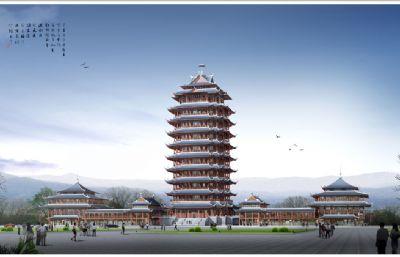 三苏故里眉山地标建筑,精细古建max模型