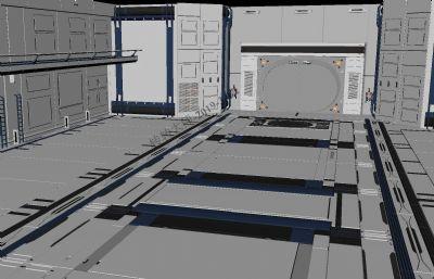 科幻室内舱体场景maya模型