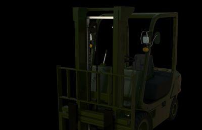 军用叉车maya模型,redshift渲染器渲染