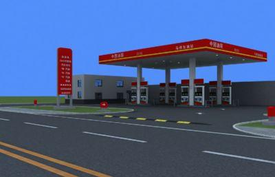 中国?#22303;?#39532;桥加油站max模型
