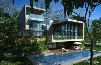 林中泳池�����e墅max模型