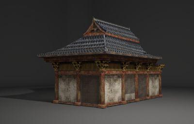 破��的古代木房子3D模型