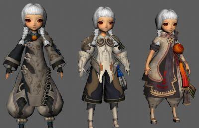 3个剑灵妹纸,Q版小女孩