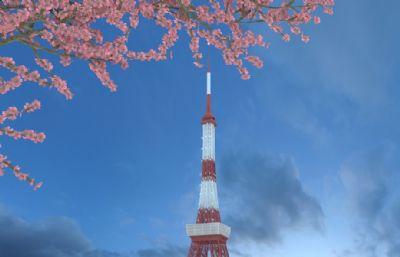 樱花树衬托下的日本东京塔