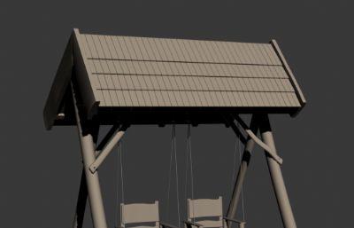 木制�p秋千max模型
