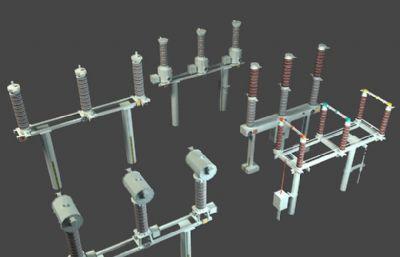 避雷器,电流互感器,电压互感器,?#19979;?#22120;,隔离开关,电力设备max模型