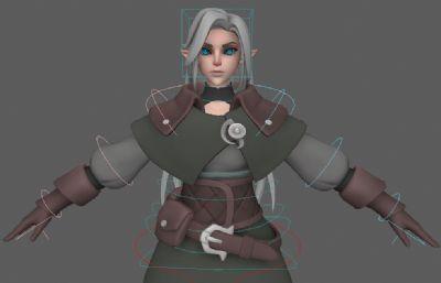 Azri阿茲里游戲女孩,帶綁定maya模型