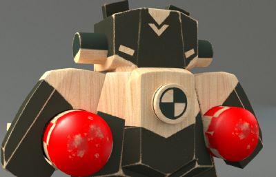 木头机器人 玩具max模型