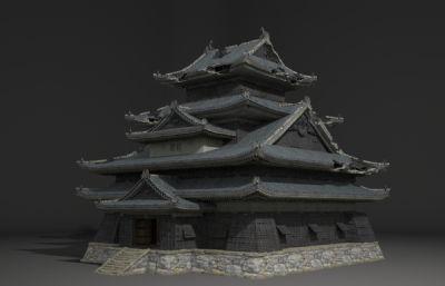 古建破烂的旧宫殿建筑3D模型