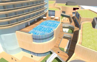 带游泳池的酒店,高档写字楼