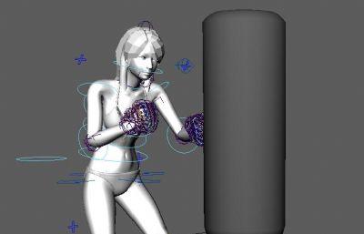 比基尼性感拳击女人,带绑定动作