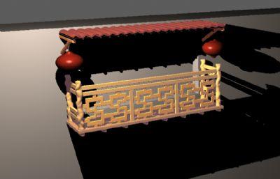 中式灯笼窗台阳台建筑maya模型