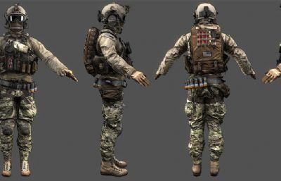 沙漠精英特�N兵maya模型,�N�D全