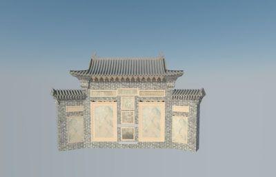 影壁,照壁古建筑模型