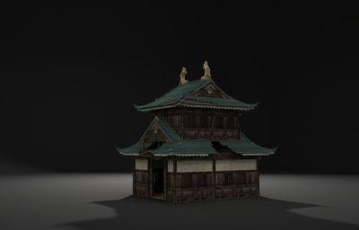 被?#19968;?#20102;的双层古建筑,破烂的房子3D模型