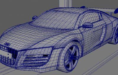 奥迪R8跑车款Maya模型